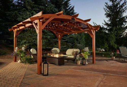 16' x 16' Sonoma Arched Wood Pergola with Lattice Roof & Privacy Wall -Redwood Finish by The Outdoor GreatRoom Company (Image #3)