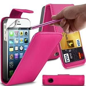 Gadget Giant Apple iPhone 5 rosa Funda de PU tipo cartera de piel sintética con tapa - Disco duro interno para Cash tarjetero y , 3 unidades de protectores de pantalla y lápiz capacitivo pantalla táctil BIG