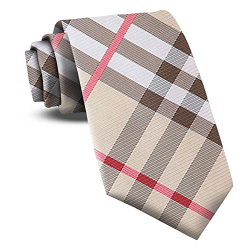 (Extra Long Ties For Men Woven Big and Tall Tie Mens Ties : XL Solid Color Necktie (Plaid - Tan))