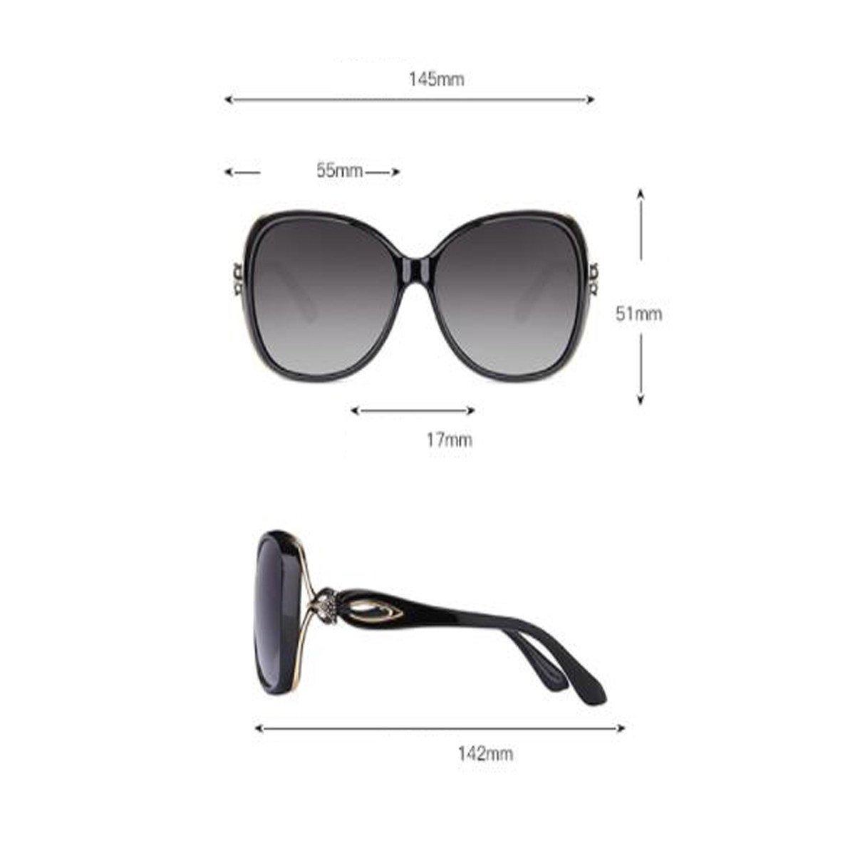 LQQAZY Gafas De Sol Polarizadas Hembra Cara Redonda Caja Grande Gafas De Sol Marea Personalidad Elegante Gafas Retro,Black: Amazon.es: Jardín