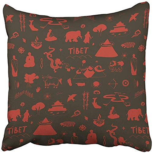 Throw Pillow Cover Decorative Polyester Square 18x18 Inches Red Animals Tibet Travel Silhouette Pattern Architecture Asia Asian Bamboo Buffalo Pillowcase Print Two Sides Sofa Home by Staropor