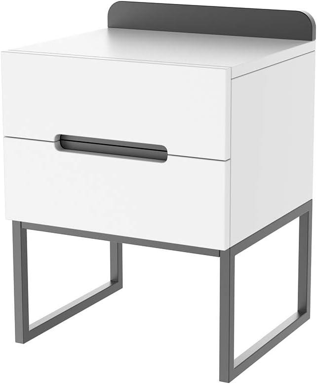 ZZBIQS Mesita de noche de madera, color blanco, mesita de noche con 2 cajones, mesita de noche, mesa pequeña con patas de metal, salón, dormitorio, café (blanco y negro)