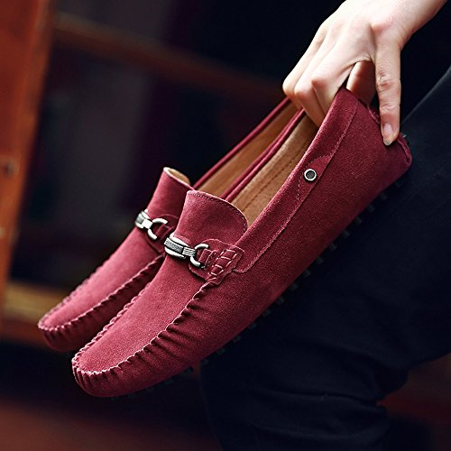 Driving Leather Genuine Sole Wine Men's Cricket Metal Loafers Shoes Suede Penny Studs Vamp Moccasins Decor adpUwqxR