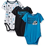 Gerber Childrenswear NFL Carolina Panthers Boys Short Sleeve Bodysuit (3 Pack), 3-6 Months, Black
