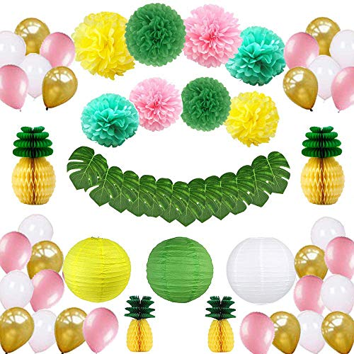 Tropical Hawaiian Party Decorations,57 pcs Party Supplies,Tropical Leaves,Pineapple,Paper Lantern,Balloons and Paper Pom Poms for Birthday,Jungle Beach Pool Theme,Baby & Bridal Shower Decorations -