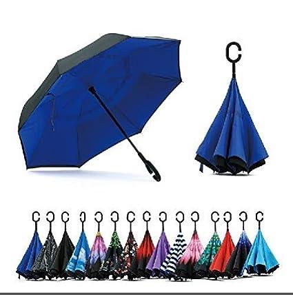 Jooayou Paraguas Invertido de Doble Capa,Paraguas Plegable de Manos Libres Autoportante,Paraguas a Prueba de Viento Anti-UV para la Lluvia del Coche ...