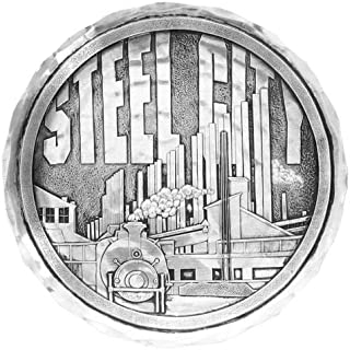 "product image for Wendell August Forge Pittsburgh Steel City Coaster, 4.5"" Round - Detailed Hand-Hammered Aluminum Drink Coaster - Made in the USA (Steel City)"