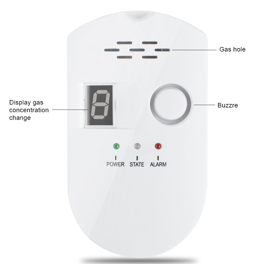 Natural Gas Detector, denshine High Sensitivity Gas Leak Detector LPG LNG Coal Gas Leak Detector Alarm Monitor Plug-in Gas Alarm with Digital Display Propane/Methane / Combustible Natural Gas Alarm