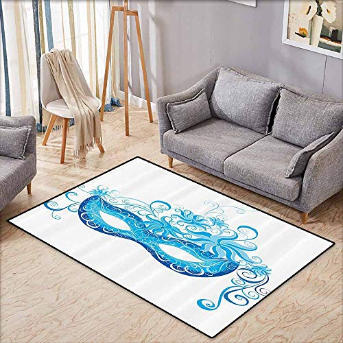 Room Bedroom Floor Rug Masquerade Decorations Collection Venetian Mask Majestic Impersonating Enjoying Halloween Theme Image Print Navy Turquoise W7'8 xL4'9 -