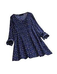 KANGMOON Women's Long Sleeve Loose Tunic Blouse,Ladies Flower Print Top,Casual Long Plus Size Shirt Tops