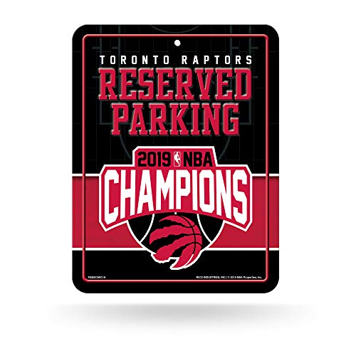 (Rico Industries NBA Toronto Raptors 2019 Basketball Champions 8-Inch by 11-Inch Metal Parking Sign Décor)