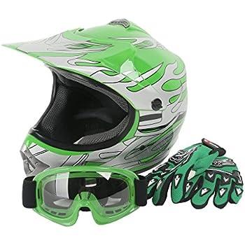 XFMT Youth Kids Motocross Offroad Street Dirt Bike Helmet Goggles Gloves Atv Mx Helmet Green Flame L
