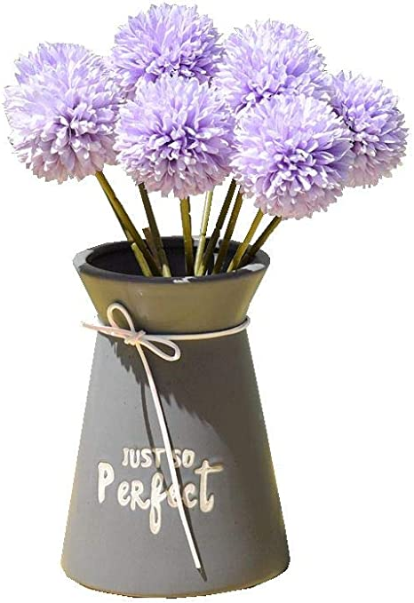 Vase not Include Mandys 10pcs Artificial Blue Chrysanthemum Ball Flowers for Home Decoration Wedding and Parties
