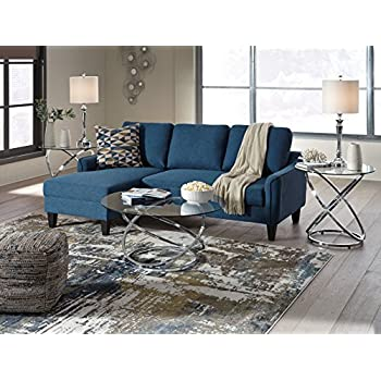 Amazon Com Jarreau Contemporary Blue Color Fabric Sofa