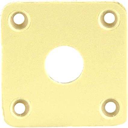 Plastic Square Curved Electric Guitar Output Jack Plate Les Paul Black//Cream