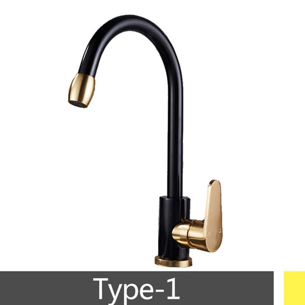 A FZHLR Champagne gold Black Kitchen Faucet Mixer Tap Single Hole Bathroon Faucet Space Aluminum Material,B