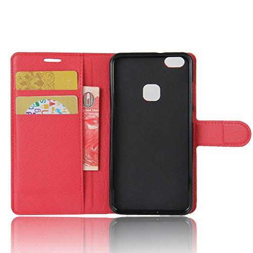 Lusee® PU Caso de cuero sintético Funda para Huawei P10 Lite 5.2 Pulgada Cubierta con funda de silicona azul rojo