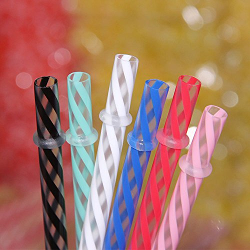 Dakoufish 12 Piece 11 Inch Reusable Plastic Thick Drinking Straws BPA Free Mason Jar Straws transparent small Stripe 6 Colors