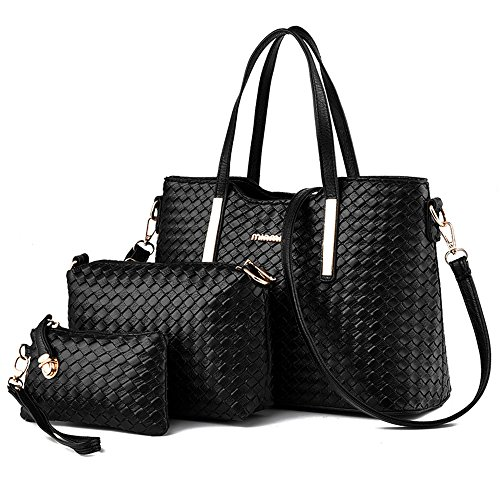TIBES Fashion PU Leather Women Handbag+Shoulder Bag+Purse 3pcs Bag Weave Tote Black