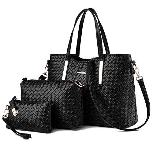 Tibes Fashion Pu Leather Handbag+Shoulder Bag+Purse 3pcs Bag Purse Black