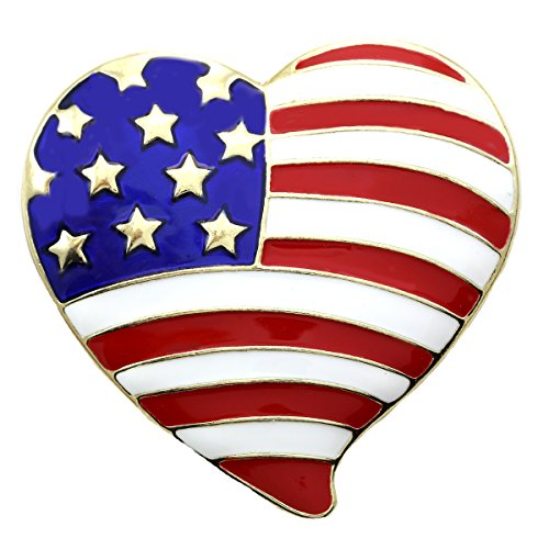 Soulbreezecollection USA Flag Heart Brooch Valentine's Day Pin Designer Costume Fashion Jewelry 4th of July Charm