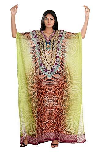 Silk kaftan's Animal print full length jewelled kaftan dress for Woman beautiful Girls beach cover up caftan One size fits all