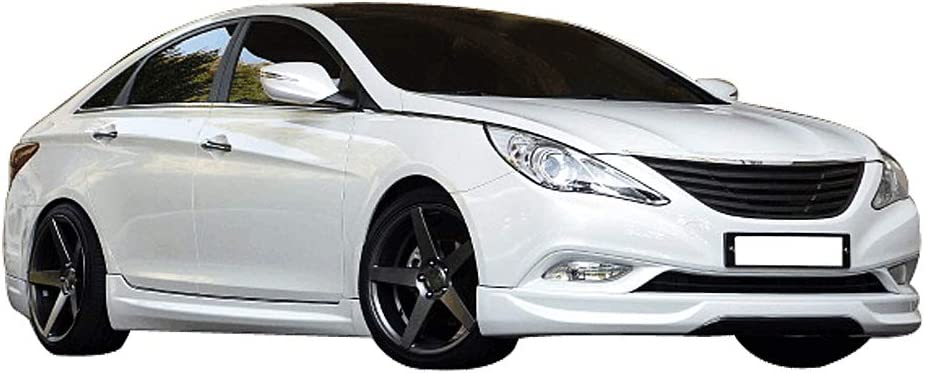IKON MOTORSPORTS 2012 2013 IX Style Black PU Front Lip Finisher Under Chin Spoiler Add On Front Bumper Lip Compatible With 2011-2014 Hyundai Sonata