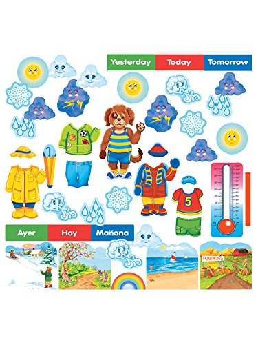 Wally The Weather Dog Felt Figures for Flannel Boards/ Bulletin Board plus lesson guide bilingual