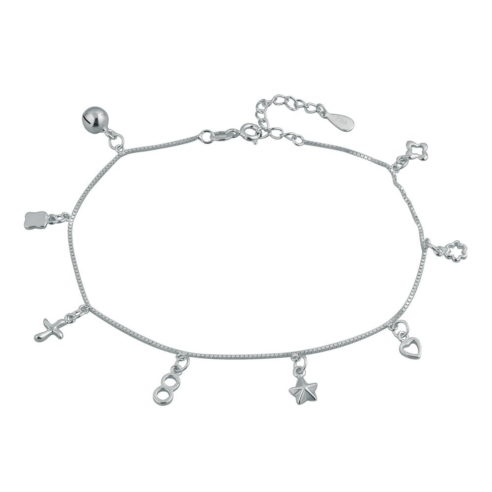 Mel Crouch 925 Sterling Silver Cute Bell Cross Infinity Love Heart Anklet Holiday Ankle Bracelets