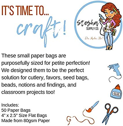 Mini Lavender Paper Bags Classroom Projects Craft Supplies Party Favor Bags Merchandise Bags 4 x 2.5 Cutlery Bags