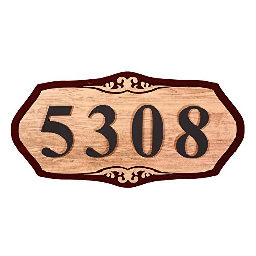 Ceramic Address Plaque (WaaHome Home Address Sign Custom House Hotel Office Address Plaque,11.8''X 5.9'' (Woodgrain))