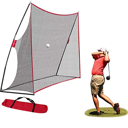 BBBuy Portable 10 x 7ft Golf Net Large Golf Hitting Net w/Carry Bag for Indoor Outdoor Driving Practice Training