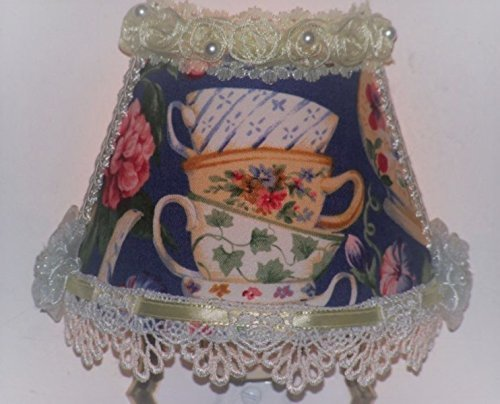 (Royal Blue Floral Stacked Teacups Night Light with Crochet Lace and Yellow Ribbon)