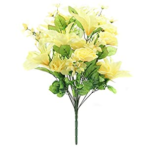 Home-X Bright Floral Bouquet with Tiger Lily, Camellia and Yellow Roses 13