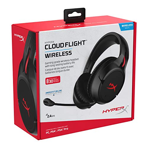 HyperX Cloud Flight - Wireless Gaming Headset, with Long Lasting Battery Upto 30 hours of Use, Detachable Noise Cancelling Microphone, Red LED Light, Bass, Comfortable Memory Foam, PS4, PC, PS4 Pro