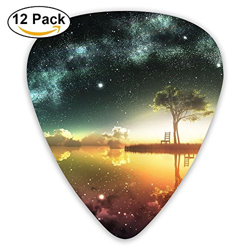 12-pack Fashion Classic Electric Guitar Picks Plectrums Fantasy Island Night Instrument Standard Bass Guitarist]()