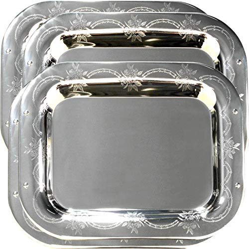 Maro Megastore (Pack of 4) 15.7-Inch x 12.2-Inch Rectangular Oblong Sturdy 304 Stainless Steel Serving Tray Victoria Design Floral Engraved Wedding Birthday Buffet Party Food Platter 405 S Ts-044