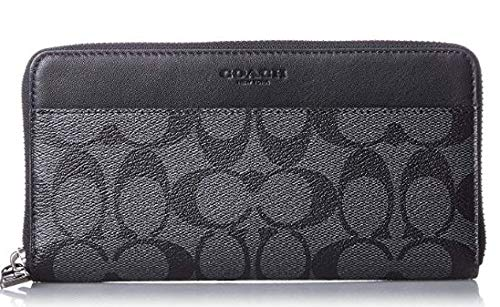 Coach Accordion Signature Zip Round Wallet (Charcoal/Black) ()