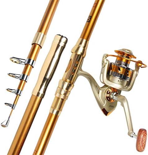 釣り竿YUSHRO スピニングリール付き釣り竿、ボートシーロックルアーのための伸縮自在の強力な高硬度ゴールドカラーカーボンポール (色 : #3000, サイズ : 210cm/83inches)