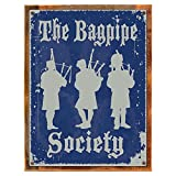 Cheap Wood-Framed The Bagpipe Society Metal Sign, Traditional Scottish Pipers for kitchen on reclaimed, rustic wood