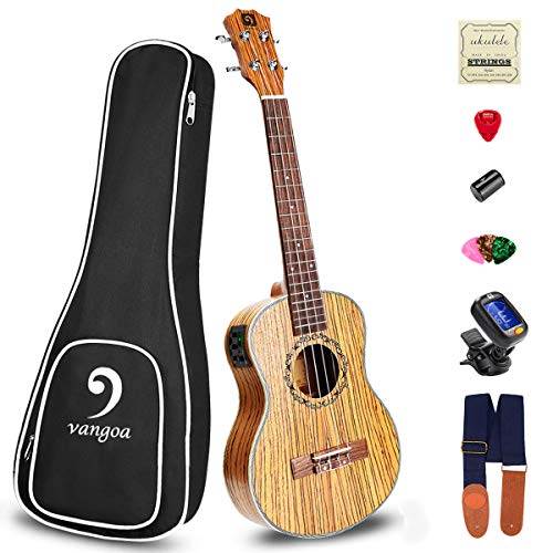 Electric Concert Ukulele 4-string 23 Inch Professional Vintage Hawaiian Acoustic Ukelele Kit, Zebra Wood, for Beginner…