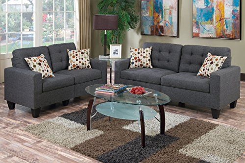 Poundex F6901 Bobkona Windsor Linen-Like Poly Fabric 2 Piece Sofa and Loveseat Set, Blue Grey