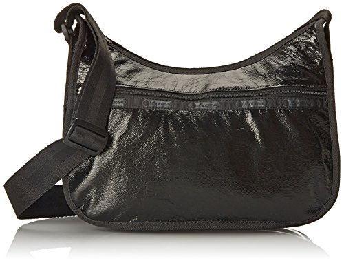 LeSportsac Classic Hobo Hand Shoulder Bag, Black Crinkle Patent, One Size Black Classic Handbag