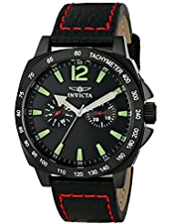 Invicta Mens 0857 II Collection Stainless Steel and Black Leather Watch