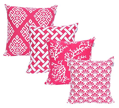 ACCENTHOME Square Printed Cotton Cushion Cover,Throw Pillow Case, Slipover Pillowslip for Home Sofa Couch Chair Back Seat,4pc Pack 18x18 in Fuschia Color (Pillow Fuschia Cases)
