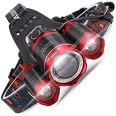 RUIMX Zoomable Brightest Led Headlamp Flashlight, Real 1800 Lumen 3 LED Waterproof Headlight, Head Lamp with 18650 Rechargeable Battery and Warning Red LED Light for Outdoor Indoor Working Camping