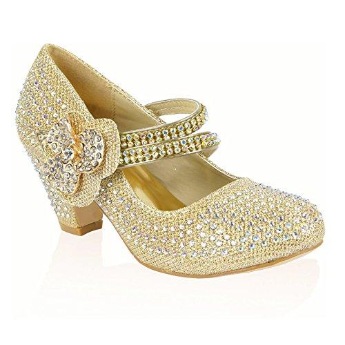 Mary argent Flower Gold Argent femme Janes pour MYSHOESTORE XHqdpX