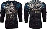 Affliction  Archaic Mens Long Sleeve T-Shirt Casco Eagle Tattoo Biker UFC (Large) Black