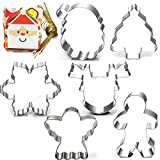 Christmas Cookie Cutter Set-3 Inches-6 Piece-Gingerbread Men, Snowflake, Reindeer, Angel, Christmas Tree, Santa Face Cookie Cutters molds, with 20-Pack Mini Christmas Cards.