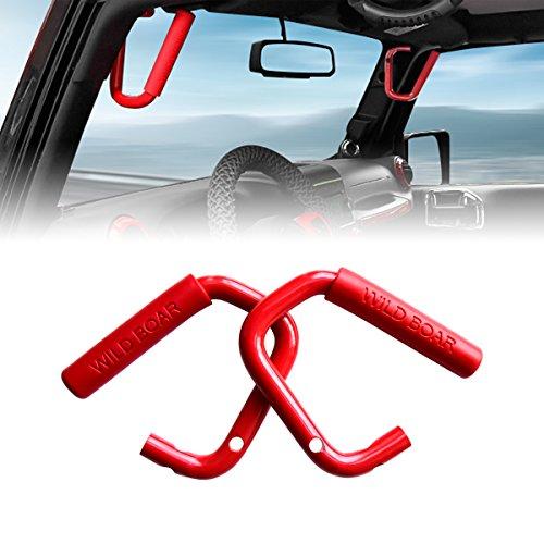 AMERICAN MODIFIED Jeep Wrangler Grab Bar Grab Handle Door Handle Front Grab Handle Jeep Wrangler Accessories JK JKU & Unlimited Rubicon Sahara Sports, 2007-2018(Wild Red Pair)